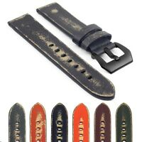 StrapsCo Destroyed Thick Vintage Leather Watch Band Strap Matte Black Buckle