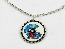 Felix The Cat Necklace, Silver Tone Bottle Cap Pendant ~ Felix Surfing, #YNC1148
