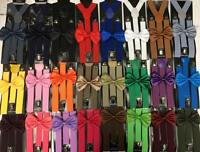 24 Colors Style Matching Men & Women Bow Tie Suspender Set Wedding Formal Wear