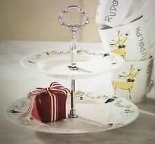 Pottery Barn ~Reindeer ~2 -Tiered Cookie Tray~ Plate~ Serving Platter ~NEW~
