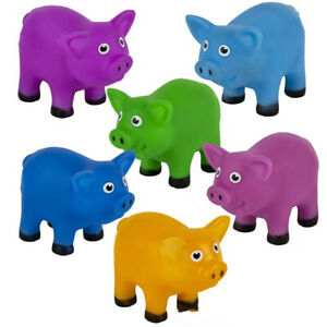Bag-0-Pigs 12 Colorful Rubber Squeeze Pigs - Assorted 2 inch Toys and Favors