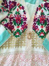 Designer pakistani Agha Noor embroidered kurti Lace Crochet S Cigarette Pants