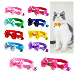 Kitten Cat Small Pet Puppy Adjustable Neck Collar with Bell Bow Tie Dots