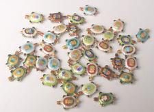 6Pcs Cloisonne Enamel Mixture Colors Turtle Charms Beads