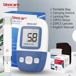 Sinocare Diabetes Test Kit AQ Angel Blood Glucose Meter+25Strips VAT F mmol/lHot