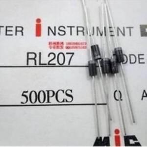 100pcs rl207 2a 1000v do-15 ordinary rectifier diode
