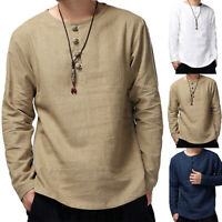Mens Chinese Style Plain Retro Tee Tops O-Neck Long Sleeve Shirt Casual T-shirt