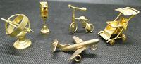 Miniature Brass - Armillary Sphere, Traffic Light, Plane, Pusher, Tricycle