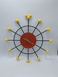"Mickey Mouse Retro Atomic Ball Wall Clock 12"" - Black / Yellow / Red"