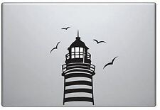 Light house vinyl sticker for Mac Book/Air/Retina laptops. Black decal