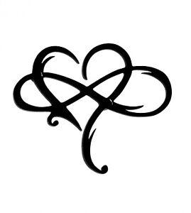 Infinity Heart Wall Art Wall Decor Love Sign in Black Acrylic Indoor or Outdoor