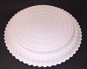 """Wilton Lot of 3 Scalloped Edge Separator Plates 12"""" 14"""" 16"""" White Baking Cakes"""