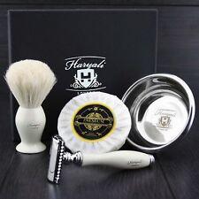 5 PC DOUBLE EDGE SAFETY RAZOR SHAVING SET & Badger Hair Shaving Brush GIFT SET.