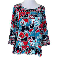 Crown & Ivy Top Womens 1X Blouse Ruffle Paisley Floral Printed Plus Size