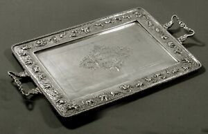 Indian Sterling Tea Set Tray                c1910 SIGNED - HAND CRAFTED