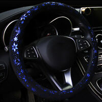 38cm Blue Snow Pattern Leather Car Steering Wheel Cover Decor For Women Lady