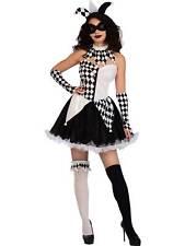 Ladies Sexy Jester Lady Fancy Dress Halloween Costume Adults Harlequin Clown