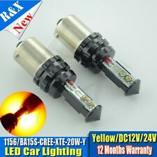 1x  Amber 1156/P21W S25 CREE 20W led lights bulbs Car Reverse Backup Stop Lamps