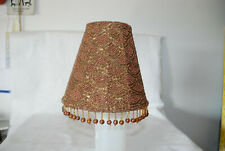 Mini Clip On Lamp Shade Ivory Fabric  brown  Beading Bombay Chandelier