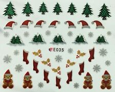 Christmas Nail Art Stickers Decals Snowflakes Teddy Bear Trees Holly Stocking 35
