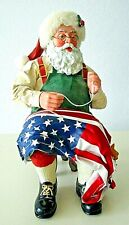 """Clothique 4Th Of July Santa Sewing American Flag 9"""" Tall 2002 Ex Cond"""