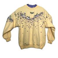 Vintage Artisans Sunschein Womens M Yellow Graphic Birds Floral Sweatshirt USA