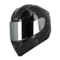 Casque Moto Intégral S441 VENGE - Noir Brillant Visière CHROME + clair + solaire