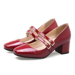 Womens Square Toe Patent Leather Block Heels Mary Janes Pumps Ankle Strap Shoes