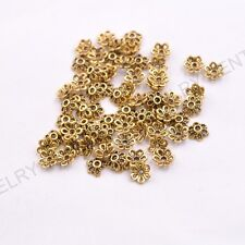 FREE SHIP 100Pcs Tibetan Silver Metal Flower Loose Spacer Beads Caps Lots 6MM