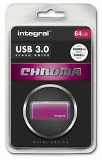 Integral 64GB CHROMA USB 3.0 Capless Flash Drive in Pink. INFD64GBCHR3.0PK