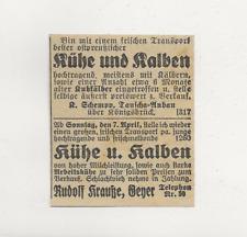 8/871 ANZEIGE AUS EINER ZEITUNG WERBUNG  JAHR 1935 TAUSCHA KÖNIGSBRÜCK GEYER