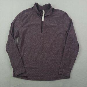 Lululemon Shirt Mens XL 1/4 Zip Purple Heather Nylon Stretch Blend Gym Yoga