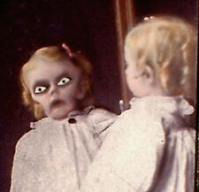"HAUNTED Antique Photo ""EYES FOLLOW YOU"" Girl Mirror Portrait prop Halloween"