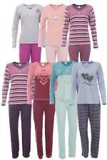 Damen Frottee Pyjama Schlafanzug 2-Teiler Lang Oberteil + Hose Warm Weich Winter