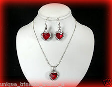 JULY BIRTHSTONE RUBY RED CRYSTAL HEART RHINESTONE SILVER NECKLACE & EARRINGS SET