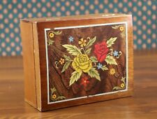 More details for vintage floral inlay wood music box jewellery trinket box working 17cmx8cmx14cm