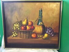 Retro Oil Painting Still Life Italian Wine Bottle And Fruits In Basket~Andy