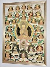 Tibetan Hand painted Buddhist Thangka ANTIQUE Tibet PAINTING framed signed