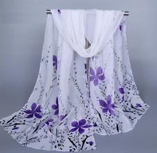 Foulard Femme Imprimé Fleurs Mauves - Bijoux des Lys