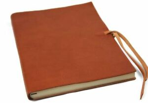 Rustico Leather Journal Saddle Brown, A4 Plain Pages - Handmade in Italy