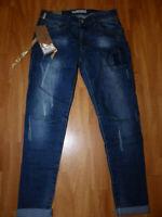 Neue Re-Dress Damen Hüft Jeans Gr M Karottenjeans Relaxed Fit Used Look Blau