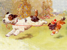WIRE FOX TERRIER CHARMING DOG GREETINGS NOTE CARD CUTE PUPPY AND PEKINGESE