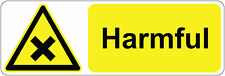 HARMFUL  health and safety | signs/stickers 300 x 100 mm