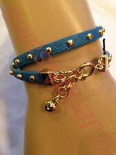 Juicy Couture Turquoise Studded DoubleWrap Small Heart Leather Bracelet YJRUOB98