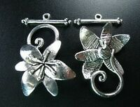 15 Sets Tibetan Silver flower toggle clasps FC5124