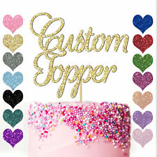Personalised Any Word Name Age Glitter Birthday Cake Topper Decoration