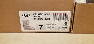 UGG Australia Womens Sz 7 Silver Pink Classic Short Sparkle Sequin Boots 1094982