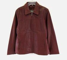 Women's Wilsons Leather Zip Front Jacket Wine Color Size M #E552