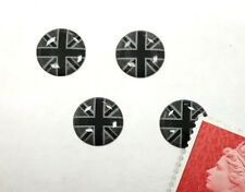 4 x Union Jack Flag Stickers Domed Finish Black & 2 Tone Grey Miniature 10mm