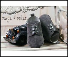Suede Pram Baby Shoes with Laces